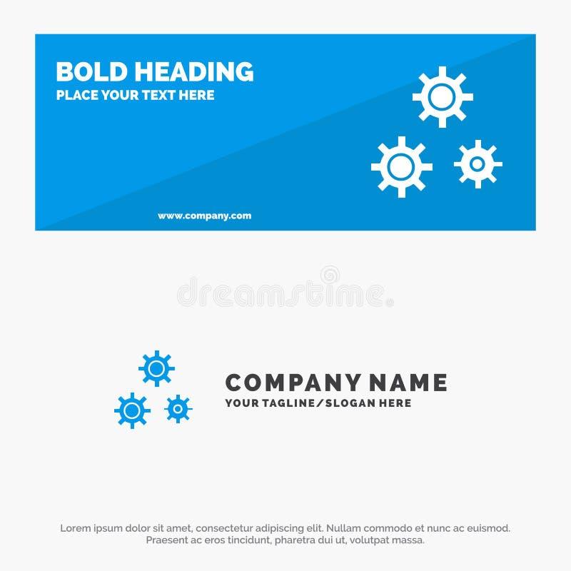Configuración, engranajes, preferencias, bandera sólida y negocio Logo Template de la página web del icono del servicio ilustración del vector