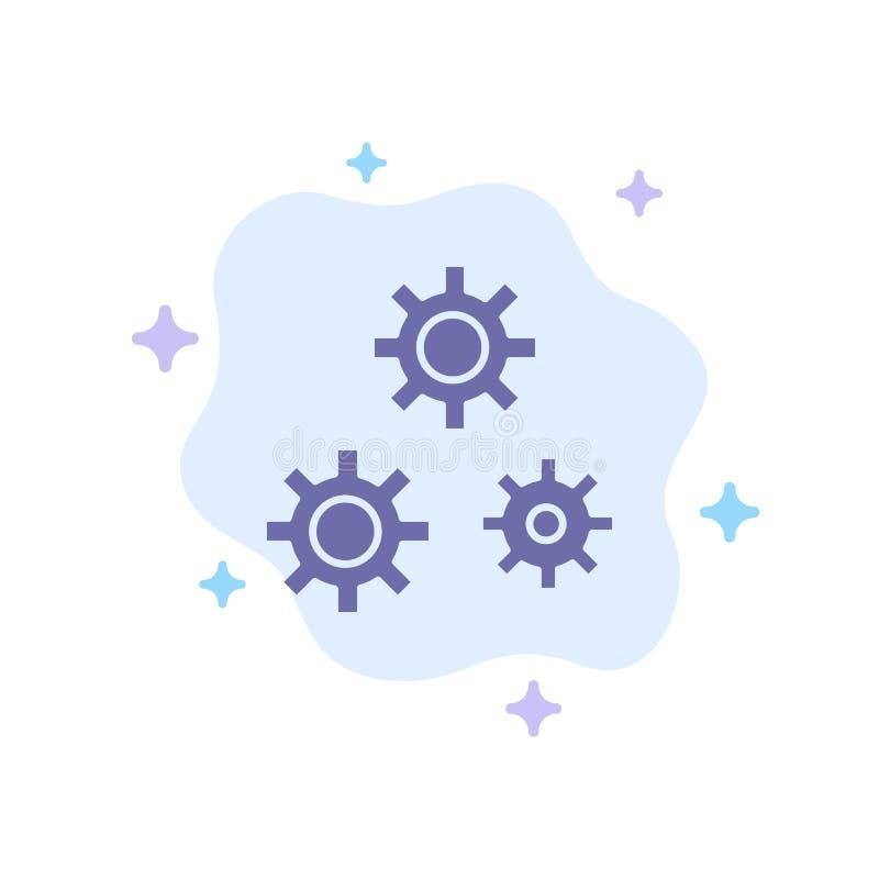 Configuración, engranajes, preferencias, icono azul del servicio en fondo abstracto de la nube stock de ilustración