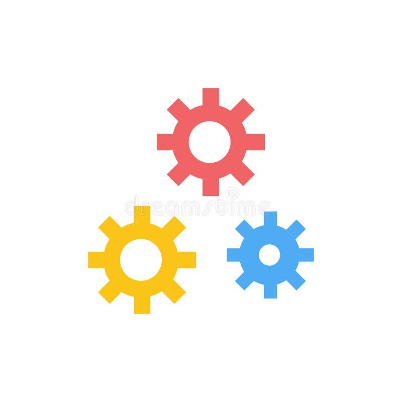 Configuración, engranajes, preferencias, icono del color del plano de servicio Plantilla de la bandera del icono del vector libre illustration