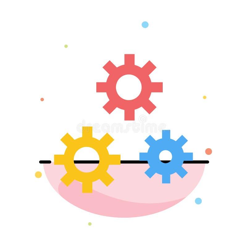 Configuración, engranajes, preferencias, plantilla plana del icono del color del extracto del servicio stock de ilustración