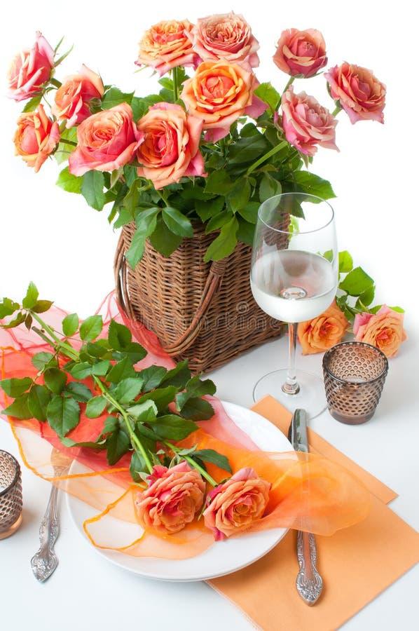 Configuración festiva del vector con las rosas fotografía de archivo libre de regalías