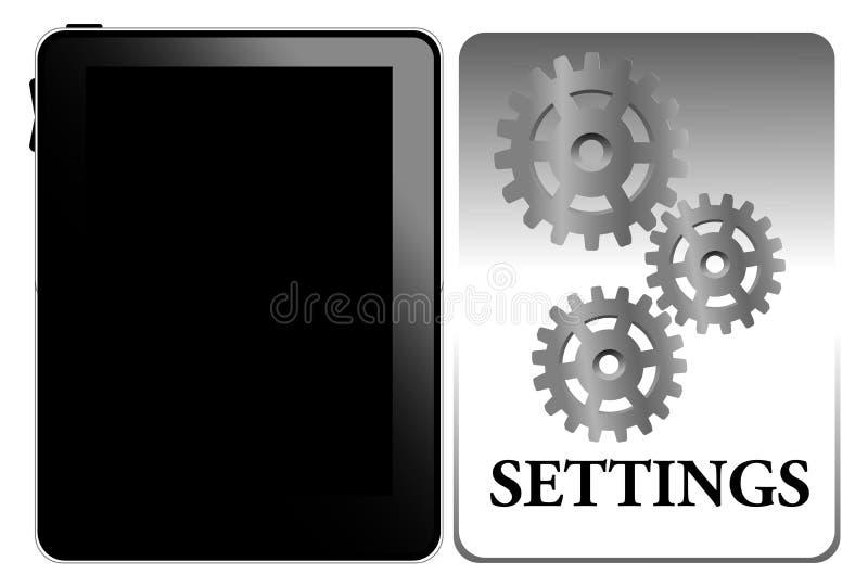 Configuraciones de la PC de la tablilla stock de ilustración