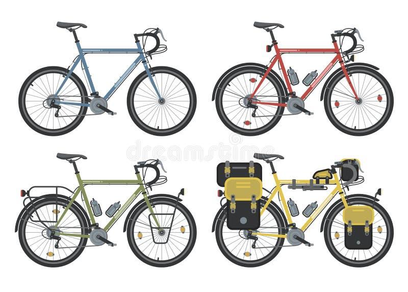 Configuraciones de las bicicletas del senderismo Vector foto de archivo libre de regalías