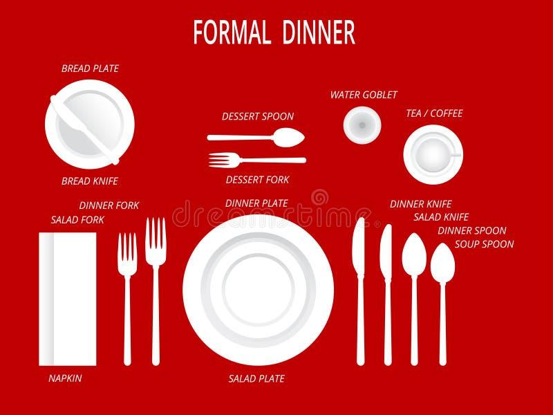 Configuraciones de lugar formales de la cena Sistema de la tabla de cena Fije para la comida y la bebida Sistema de cena con las  libre illustration