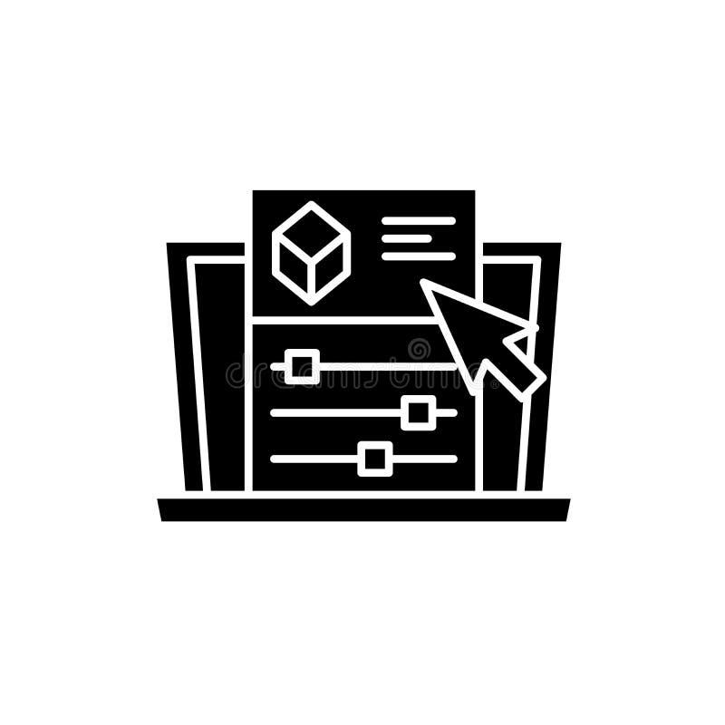 Configuraciones del proyecto icono negro, muestra del vector en fondo aislado Símbolo del concepto de las configuraciones del pro libre illustration