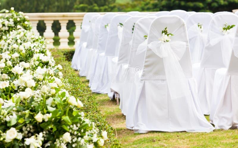 Configuraciones tropicales para una boda foto de archivo libre de regalías