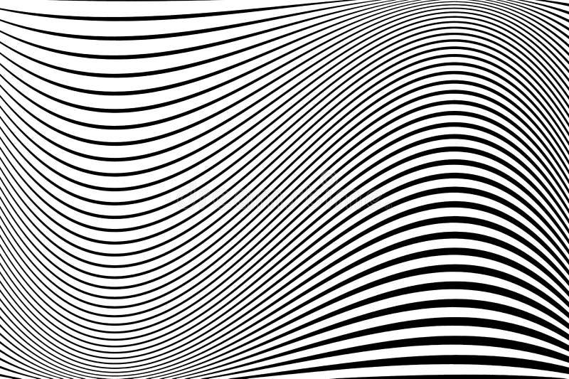 Configuration abstraite Texture avec les lignes onduleuses et houleuses Fond optique d'art Conception de vague noire et blanche illustration stock