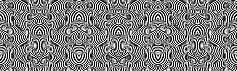 Configuration avec l'illusion optique Conception noire et blanche Fond rayé abstrait Illustration de vecteur illustration de vecteur
