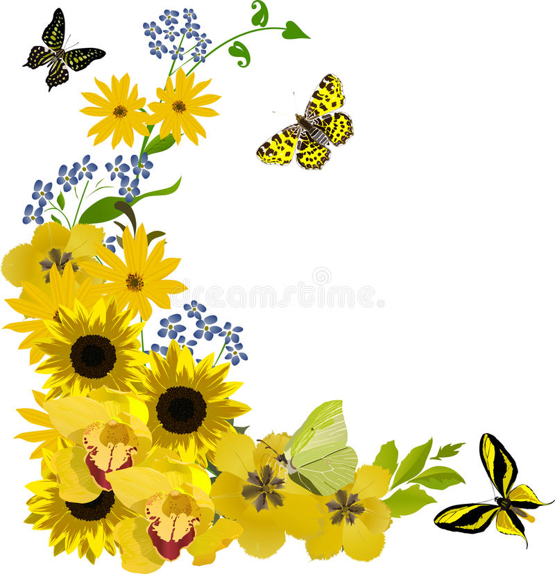 Configuration avec les tournesols et les guindineaux jaunes illustration libre de droits