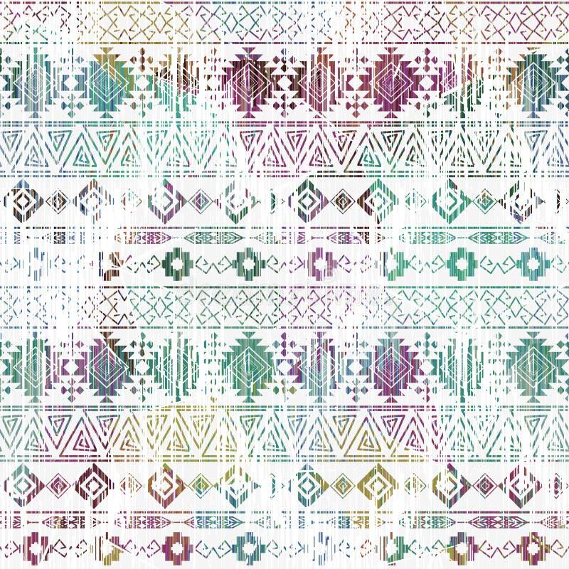 Configuration aztèque colorée sans joint Rayures horizontales sur un fond blanc illustration stock
