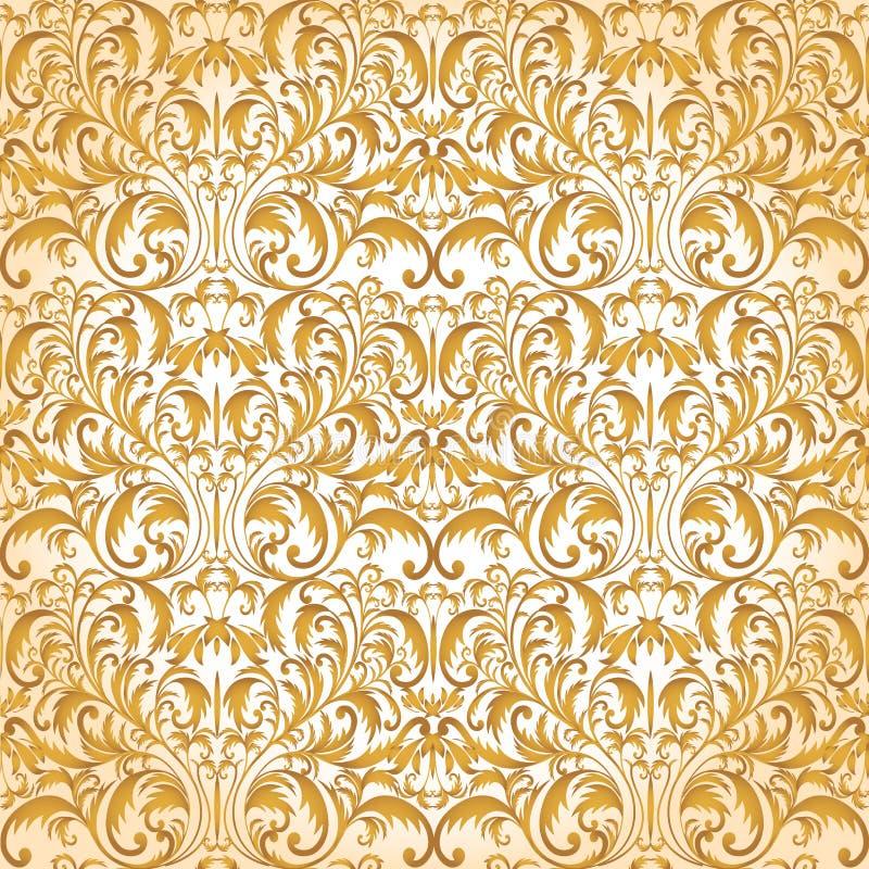 Configuration baroque sans joint Modèle d'or Fond de vintage pour l'invitation, tissus Illustration de vecteur illustration de vecteur