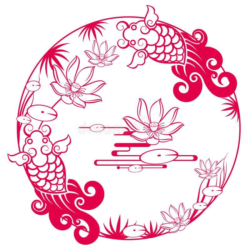 Configuration chanceuse traditionnelle chinoise illustration de vecteur