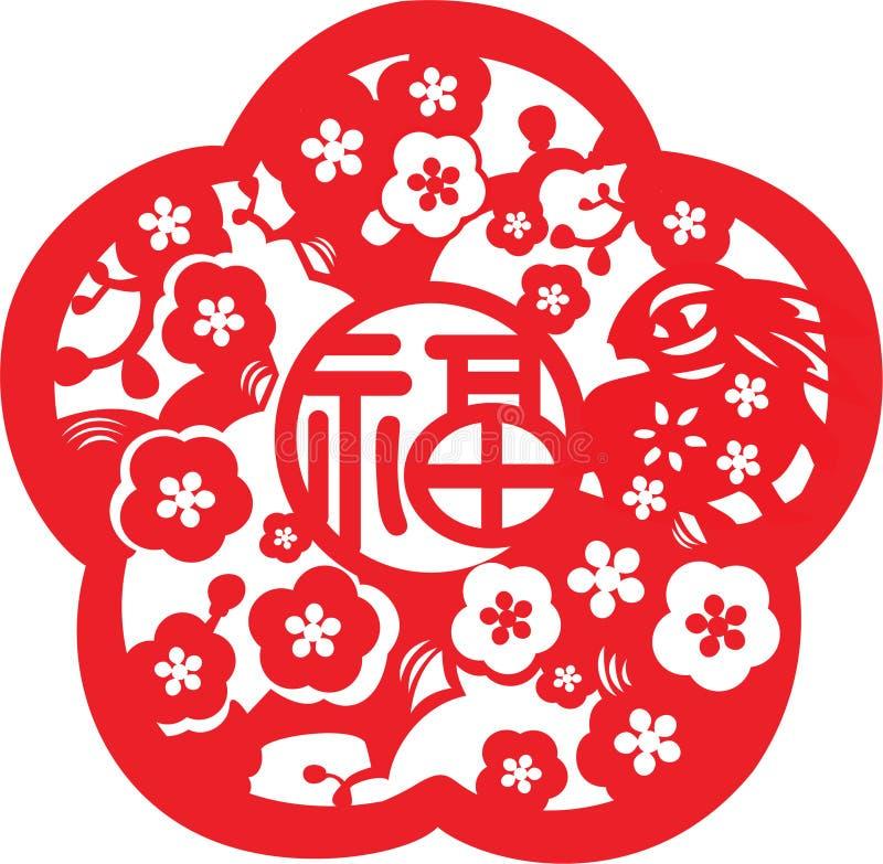 Configuration chinoise d'an neuf illustration libre de droits