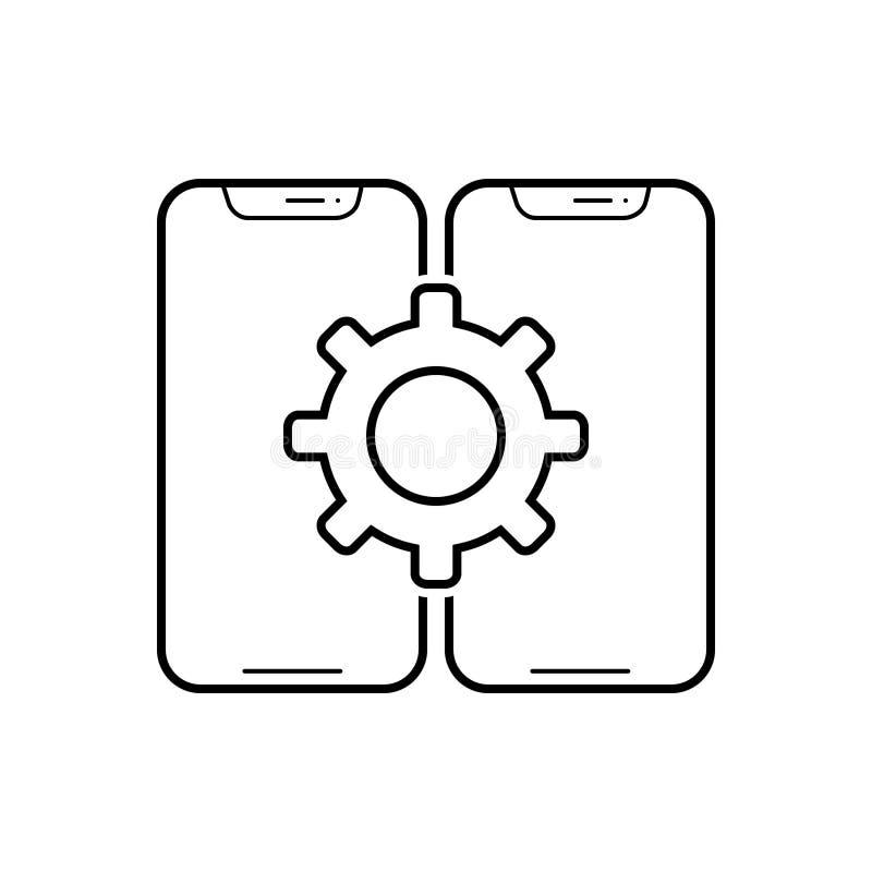 Black line icon for Configuration, assortment and taxonomy. Black line icon for Configuration, assortment, classification smartphone and taxonomy stock illustration
