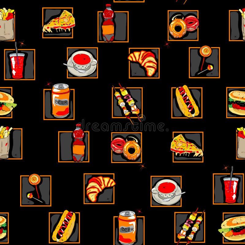 Configuration d'aliments de préparation rapide de Scarry illustration libre de droits