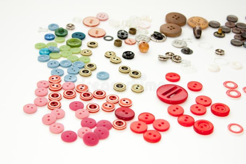 Configuration d'appartement avec les boutons de couture color?s, faux, vue sup?rieure Maquette de boutons de disposition sur le f photos libres de droits
