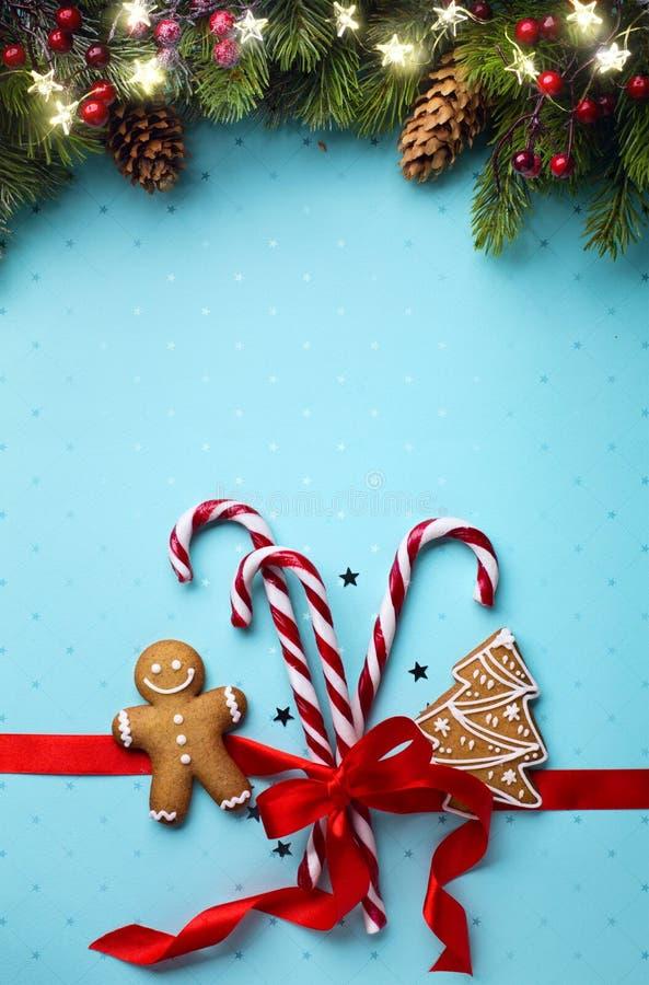 Configuration d'appartement d'ornement de vacances de Noël ; Fond de carte de Noël image stock