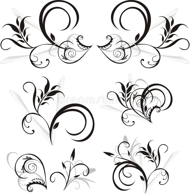 configuration d'ornements floraux de conception illustration stock