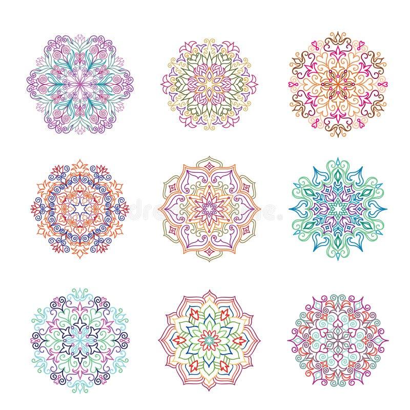 Configuration de fleur abstraite Ornement de mandala Décor oriental floral illustration stock