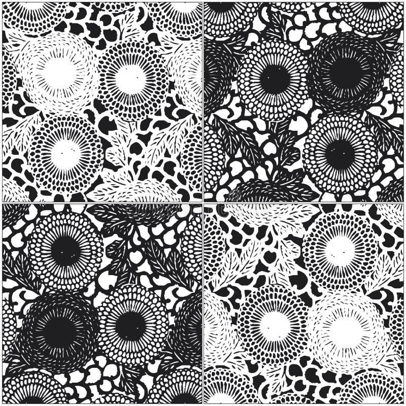 Configuration de fleur en noir et blanc illustration stock