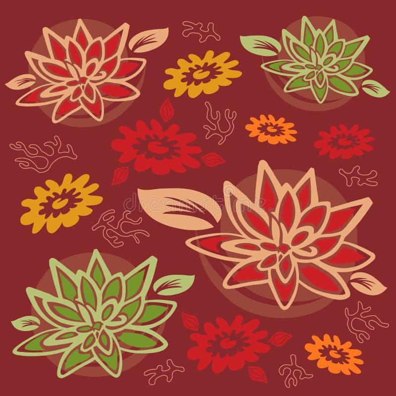 Configuration de fleur et de feuillage - fleur de lotus/corail illustration stock