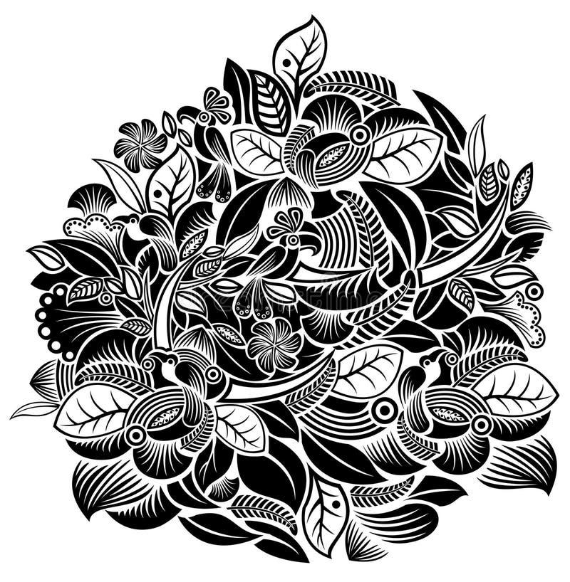 Configuration de fleurs et d'oiseaux illustration de vecteur