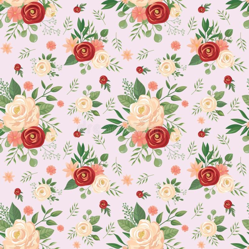 Configuration de fleurs sans joint L'impression florale, a monté des bourgeon floraux et les roses dirigent l'illustration de fon illustration de vecteur