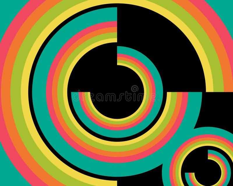 Configuration de papier peint de cercles rétro illustration de vecteur