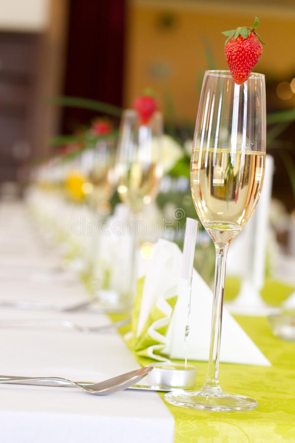 Configuration de table de mariage photo stock