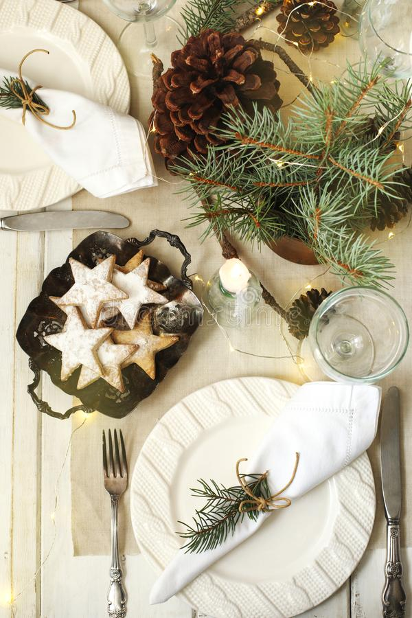 Configuration de table de Noël photo libre de droits