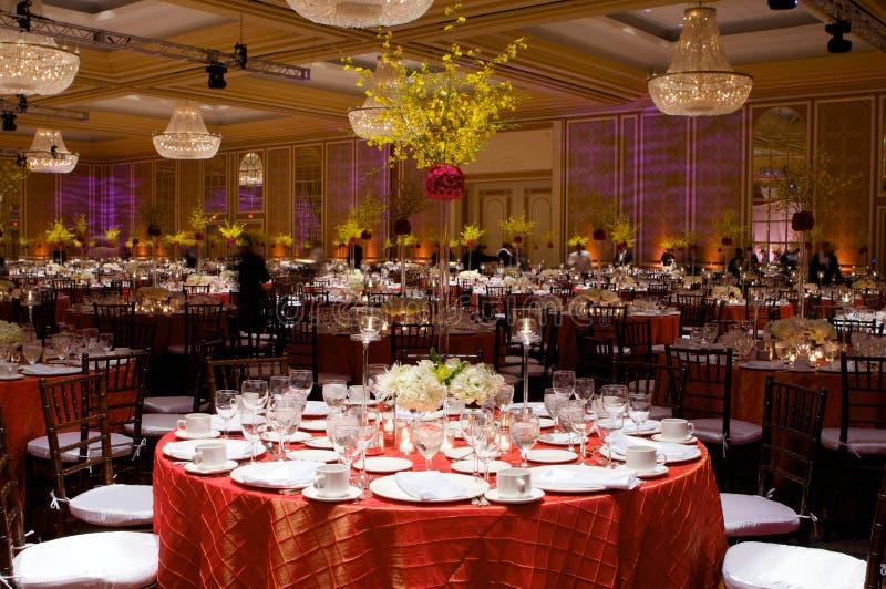 Configuration de Tableau à une réception de mariage de luxe photos libres de droits