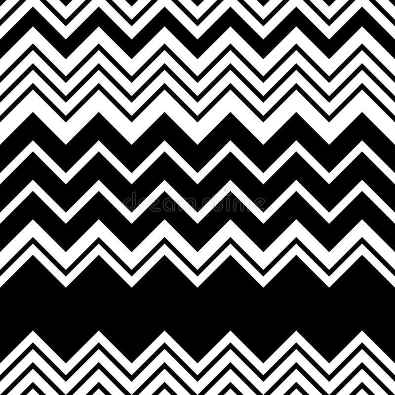 Configuration de zigzag sans joint Rayure et Lin noirs et blancs abstraits illustration stock