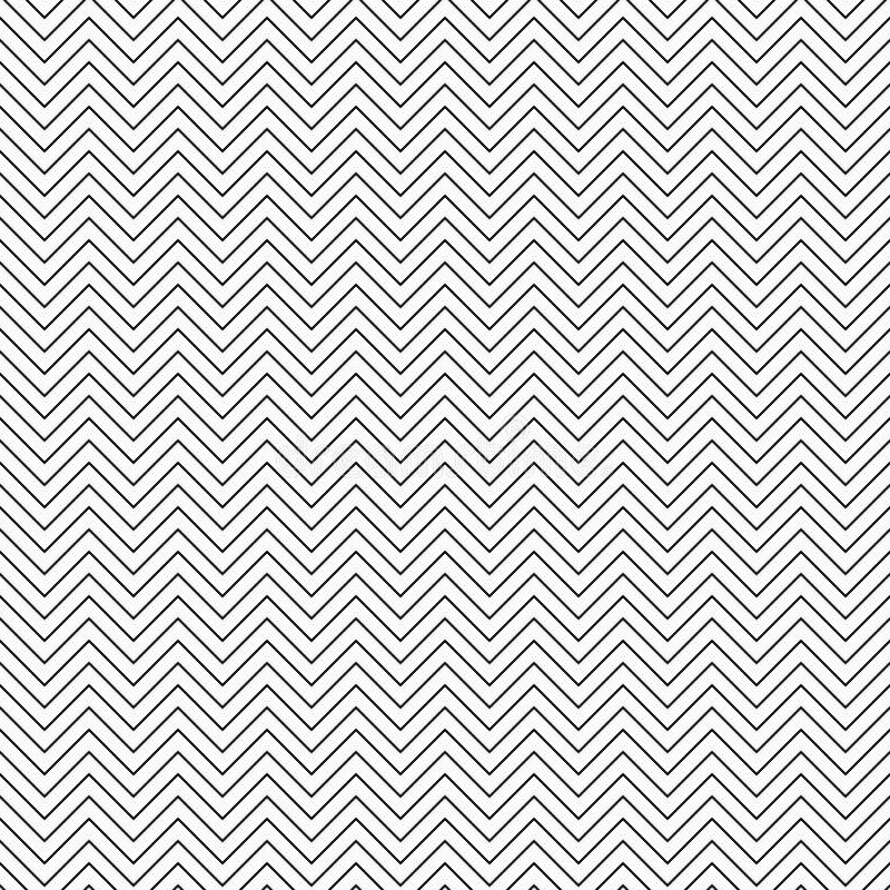 Configuration de zigzag sans joint de vecteur Ligne texture de Chevron Fond noir et blanc Conception minimale monochrome illustration de vecteur