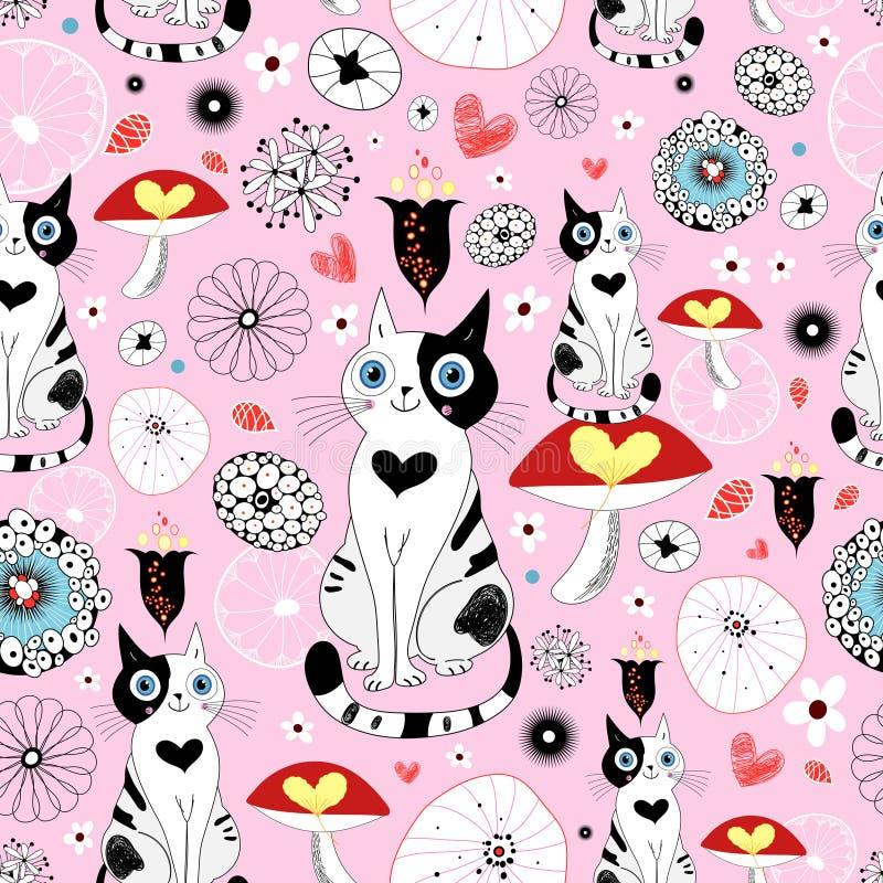 Configuration des chats et des fleurs illustration de vecteur