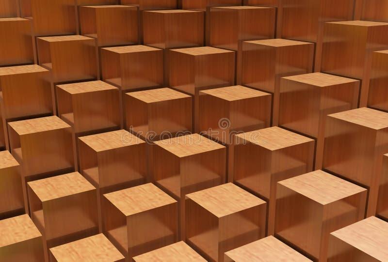 Configuration en bois abstraite de cube images stock