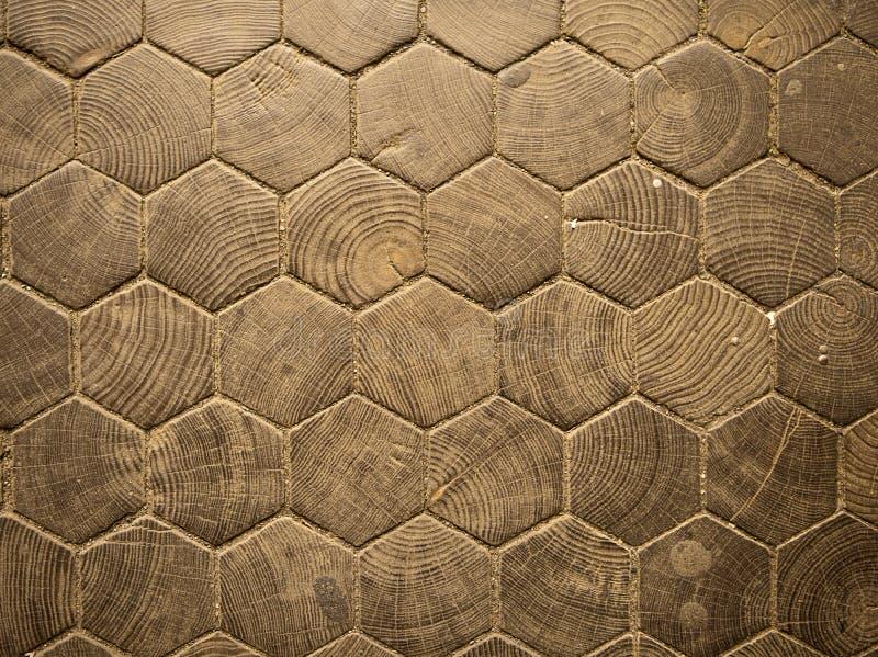 Configuration en bois d'hexagone photographie stock