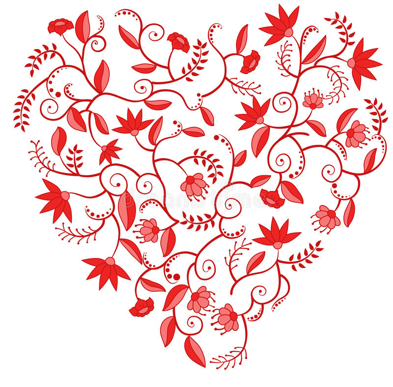 Configuration en forme de coeur florale rouge illustration libre de droits