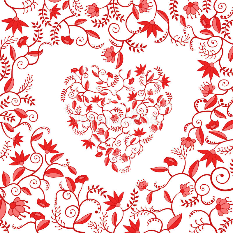 Configuration en forme de coeur florale rouge illustration stock