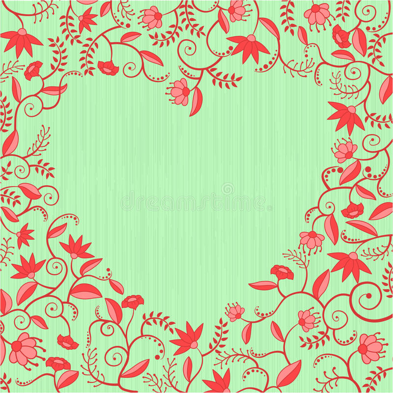 configuration en forme de coeur florale Rouge-verte illustration stock
