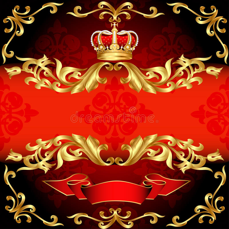 Configuration et corona rouges d'or de trame de fond illustration de vecteur