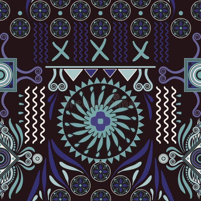 Configuration ethnique sans joint de vecteur Contexte coloré avec les éléments abstraits Conception de natif américain, Navajo Mo illustration libre de droits