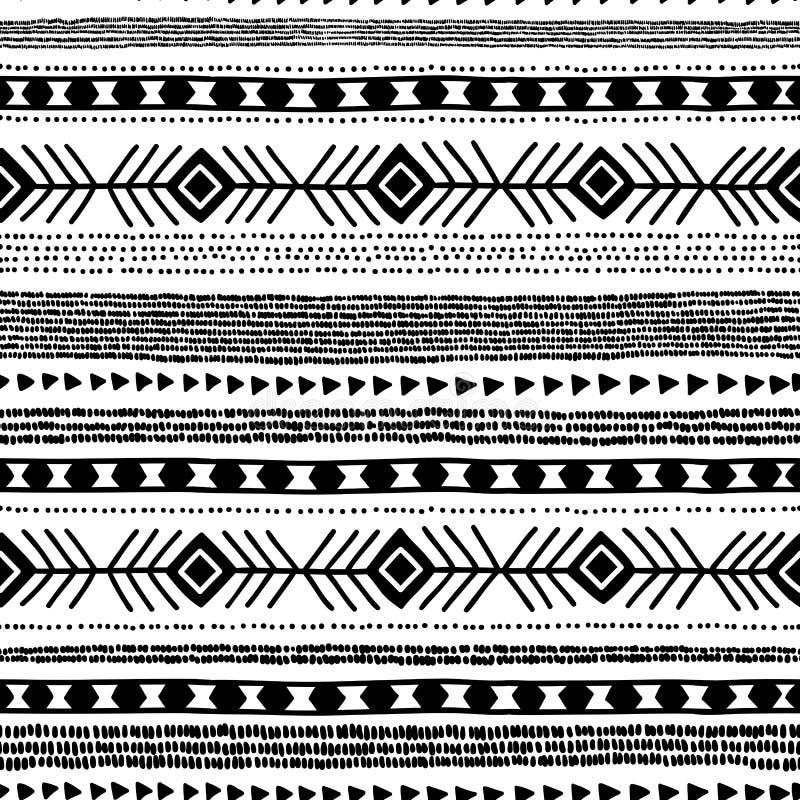 Configuration ethnique sans joint handmade Rayures horizontales Copie noire et blanche pour vos textiles Illustration de vecteur illustration de vecteur
