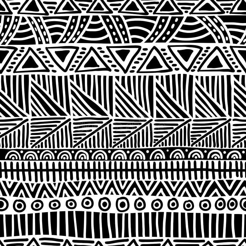 Configuration ethnique sans joint handmade Rayures horizontales Copie noire et blanche pour vos textiles Illustration de vecteur illustration libre de droits