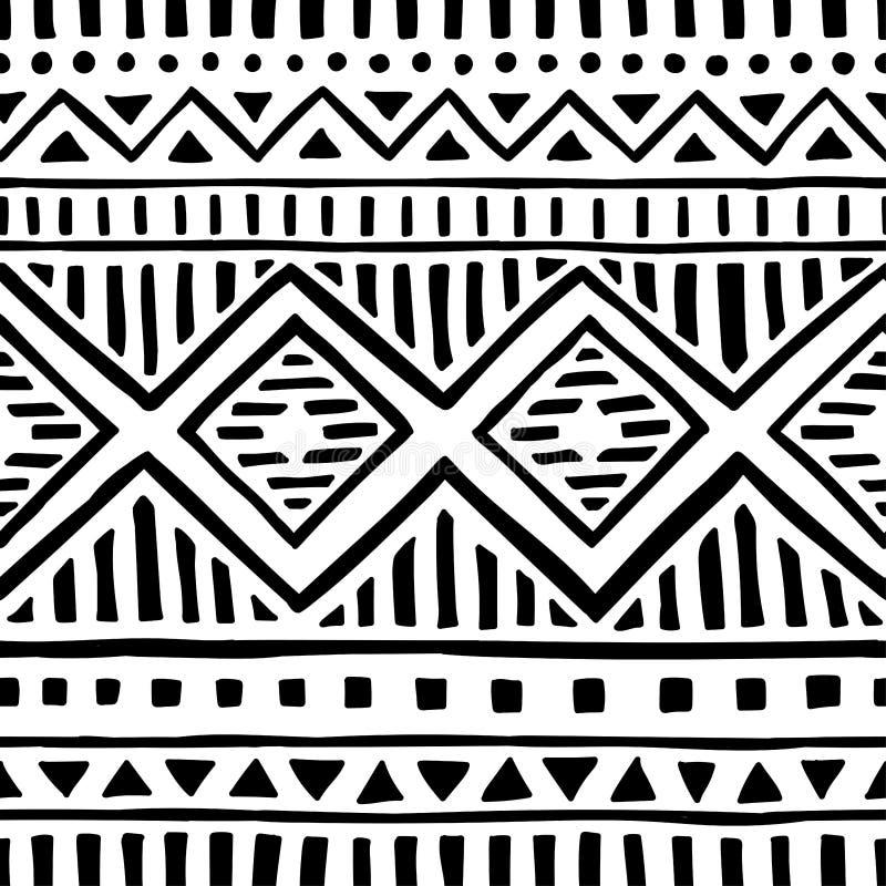 Configuration ethnique sans joint handmade Rayures horizontales Copie noire et blanche pour vos textiles Illustration de vecteur illustration stock