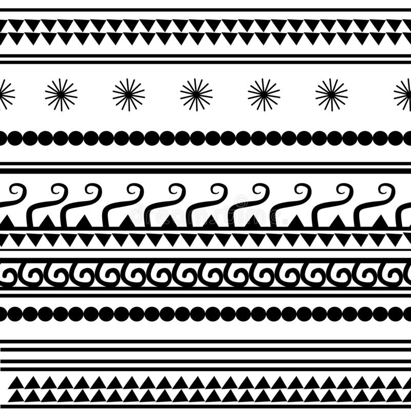 Configuration ethnique sans joint handmade Rayures horizontales Copie noire et blanche pour vos textiles Style africain d'illustr illustration stock