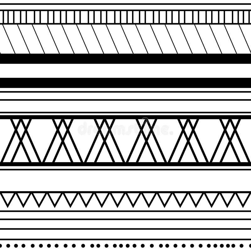 Configuration ethnique sans joint handmade Rayures horizontales Copie noire et blanche pour vos textiles Style africain d'illustr illustration libre de droits