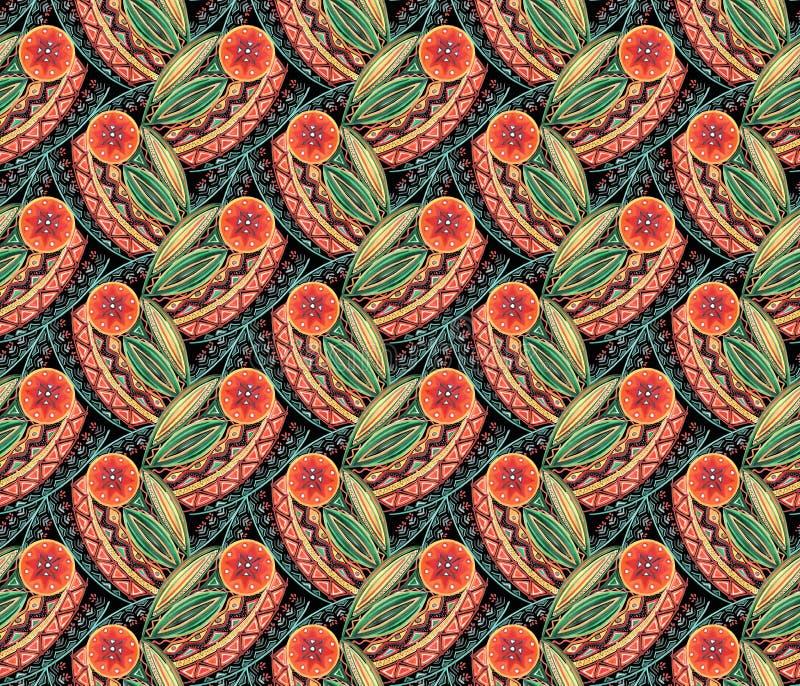 Configuration florale abstraite sans joint Fleurs stylisées de corail lumineuses, feuilles sur un fond noir illustration stock