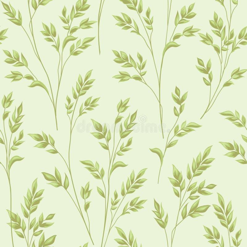 Configuration florale avec des lames Dos sans couture de branche ornementale d'herbe illustration stock