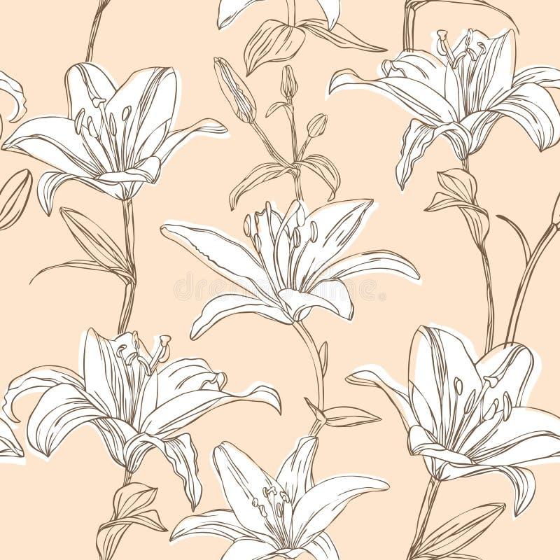 Configuration florale avec le lis illustration libre de droits