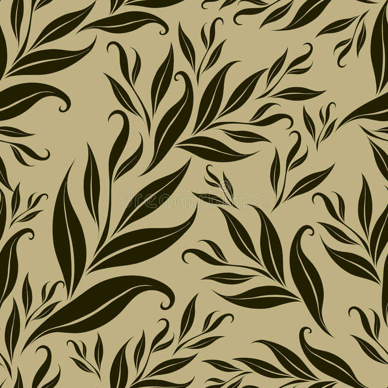 Configuration florale brune sans joint avec des lames illustration de vecteur
